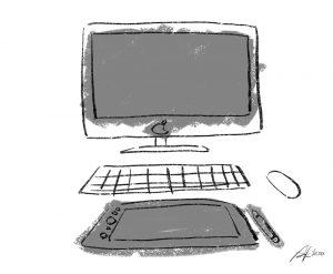 iMac、タブレットのイラスト