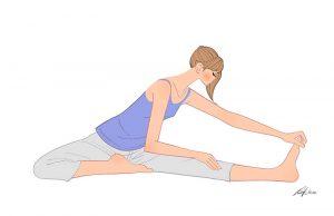 床に座り柔軟運動をする女性のイラスト