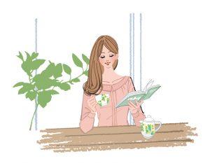 リビングで本を読みながらお茶を飲む女性のイラスト