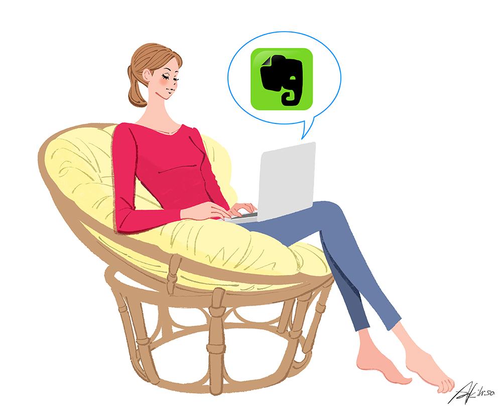 ノートパソコンでEvernoteを使う女性のイラスト