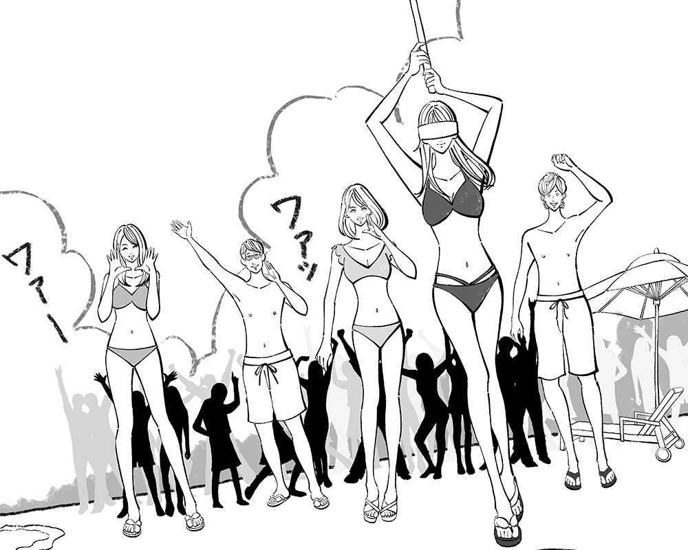夏・スイカ割り大会をする大学生たちのイラスト