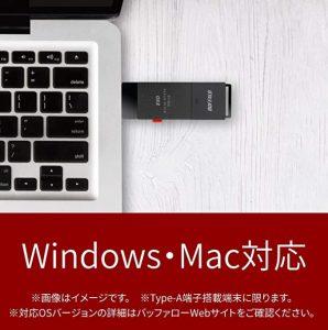 バッファロー SSD 外付け 1.0TB 小型 コンパクト ポータブル PS5/PS4対応(メーカー動作確認済) USB3.2Gen1 ブラック SSD-PUT1.0U3-B/N