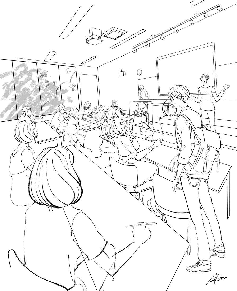 イラストラフ・大学生、教室の風景