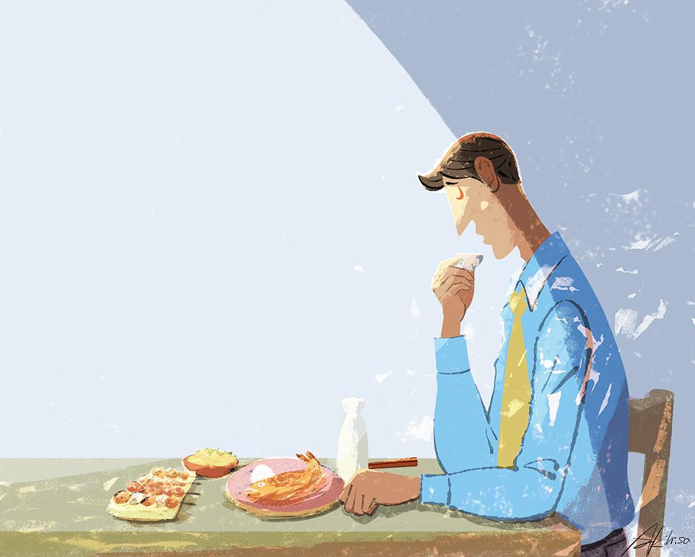 一人酒を飲む男性/サラリーマンのイラスト