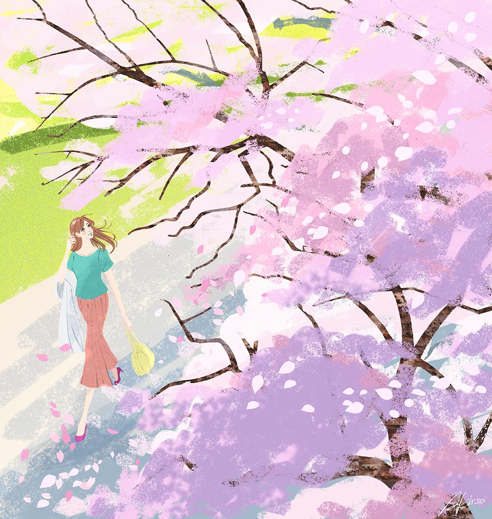 春、桜の下を歩く女性のイラスト