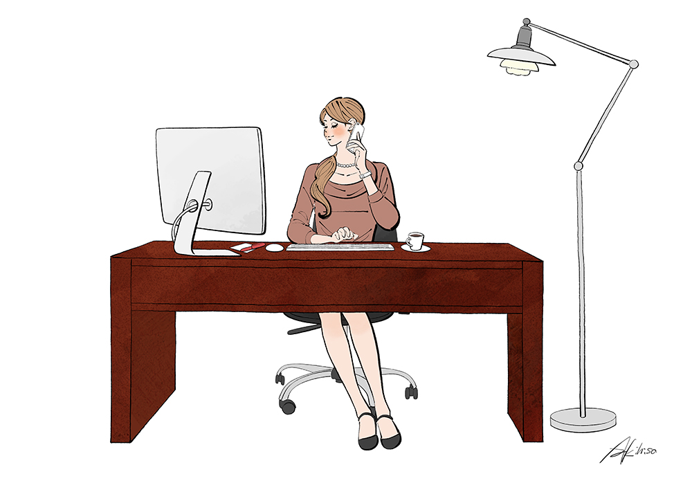 デスクでパソコンで仕事をする女性のイラスト