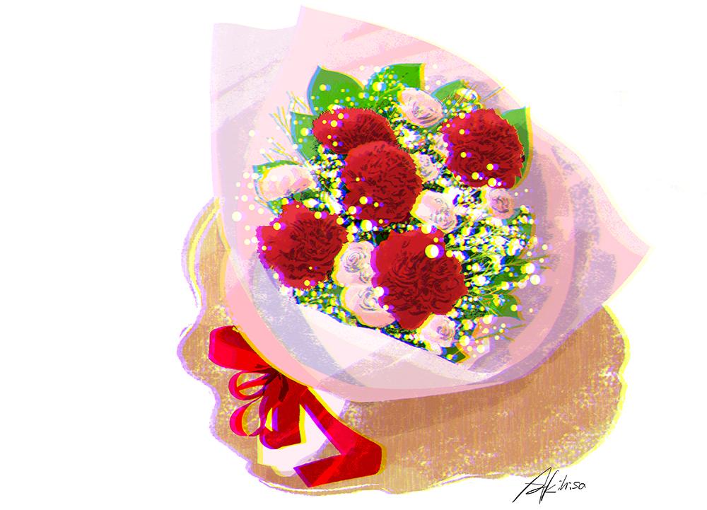 母の日・カーネーションとかすみ草の花束のイラスト