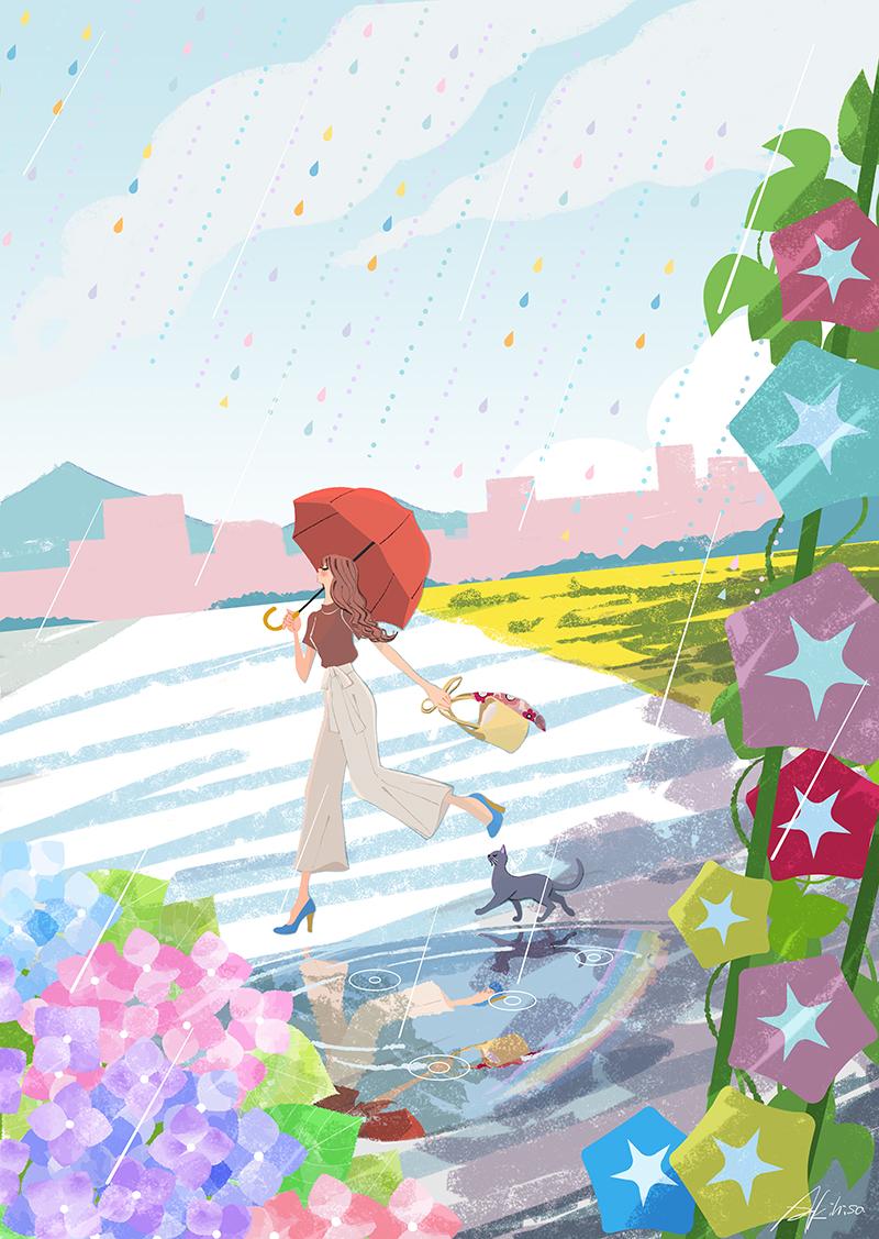 雨の中を傘をさして走る女の子と猫、朝顔、あじさいのイラスト